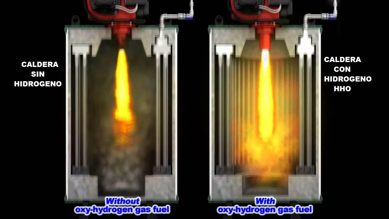 Caldera con hidrogeno HHO comparativa combustion